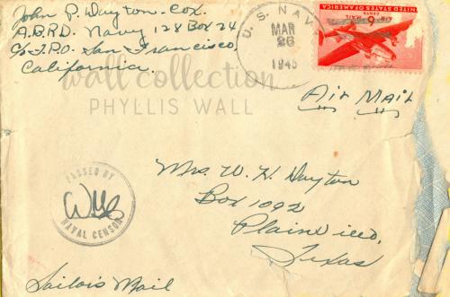 John Dayton Sailor's Mail to his Mother Mrs W H Dayton 1945e